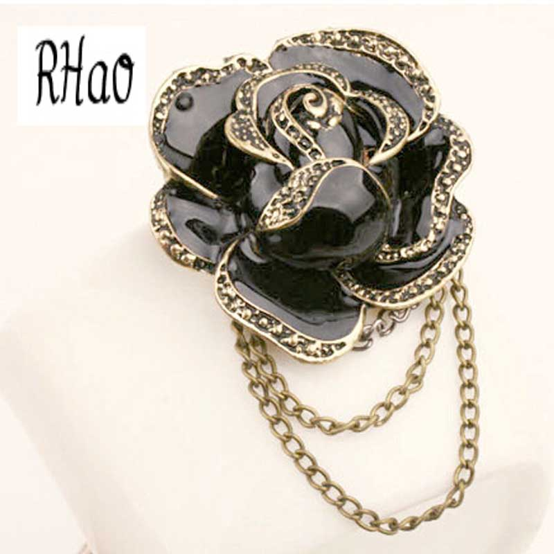 Elegant Women Black Rose Flower Brooches Enamel brooch pins for women wedding tassel party jewelry brooches ladies hijab pins