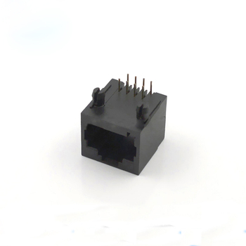 200pcs RJ45 Network Socket Connector Black Plastic Communication Network Mouth 8 Feet 90 Degrees Horizontal Interface