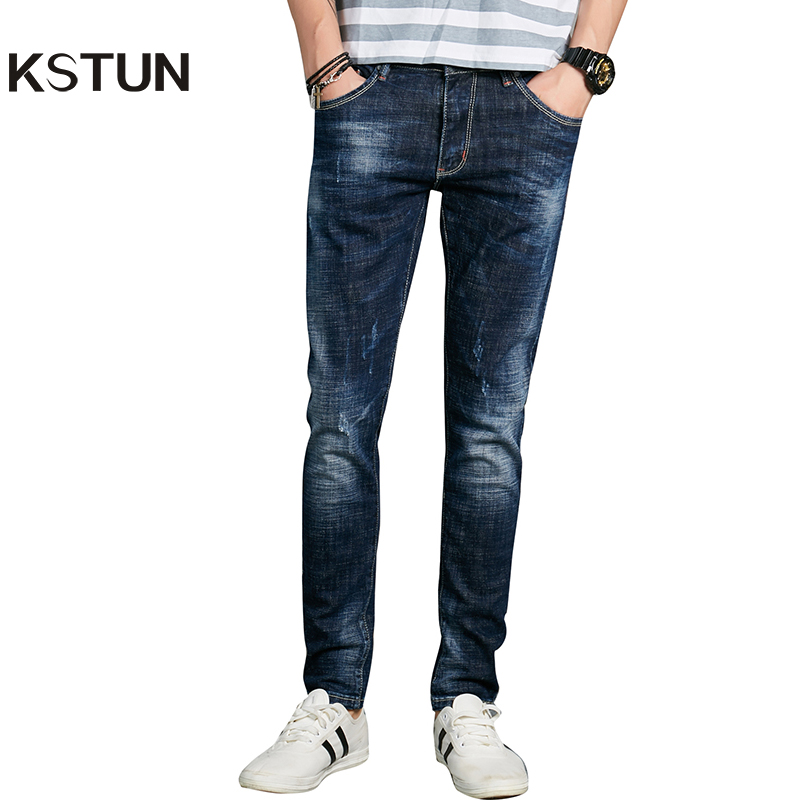 KSTUN Fashion Jeans Men Europe American Blue Skinny Tapered Casual Jeans Pockets Desinger Pencils High Stretch Mens Joggers Jean 2017 skull character designer jeans men tapered slim europe american style blue pencils retro grey vintage ripped broken pants