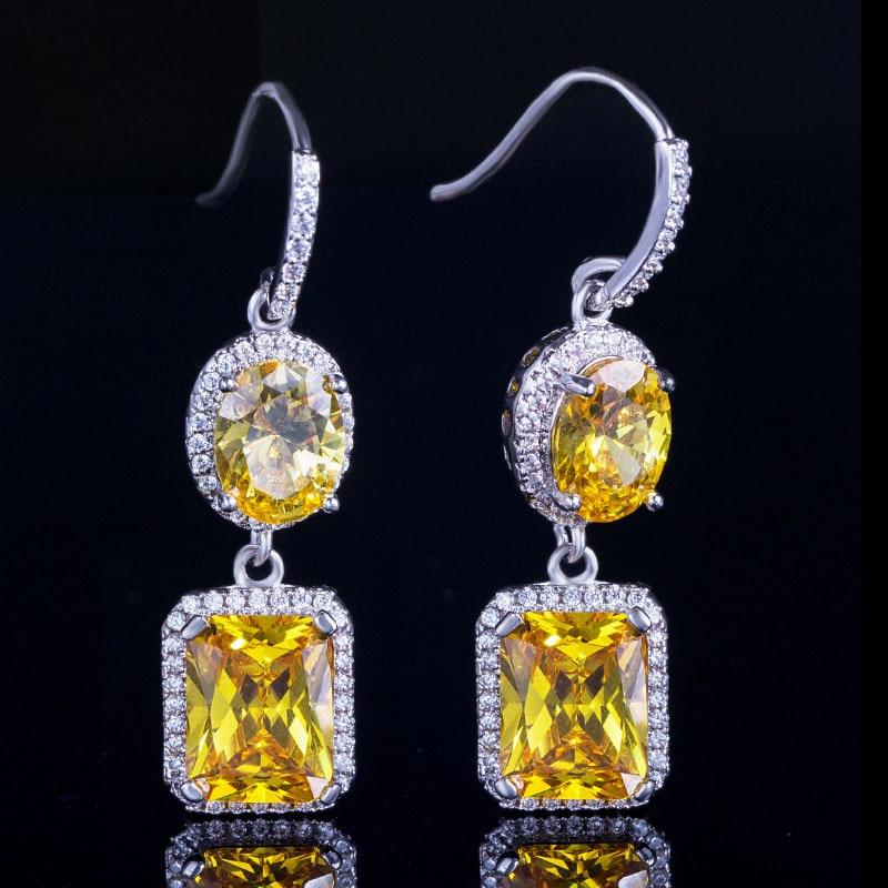 Yellow Crystal Drop Earrings 2