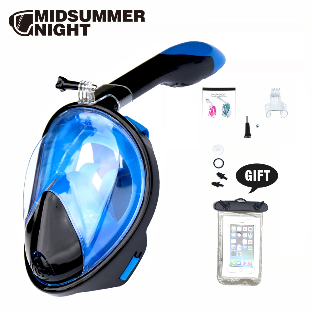 2019 New Underwater Anti Fog Anti Leak Diving Mask Snorkel Full Face Scuba Mask For Gopro Camera With Free Gift For Kids Adult
