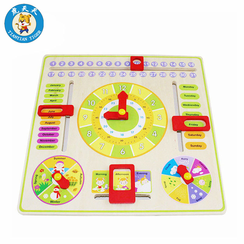 Montessori Baby Wooden Toys Early Educational Toys Time And Date Cognition Multi-functional Clock