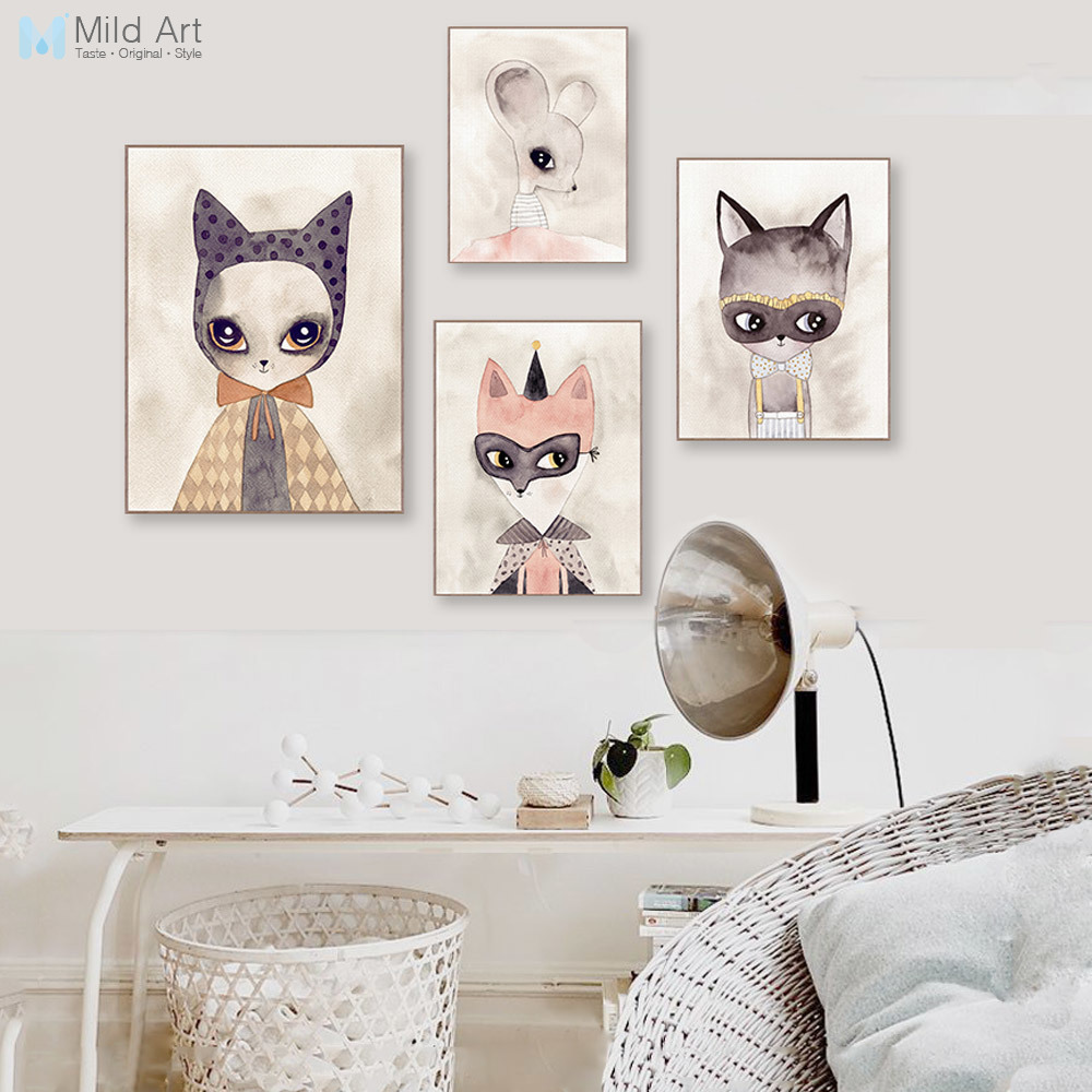 Watercolor Cute Animals Cat Fox Poster Nordic Nursery Kids