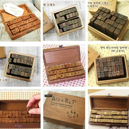 New 2017  Anglais Cursive Digital English Stamp Wooden  AlPhaBet Digital And Letters Seal  Set  Standardized Stamps