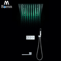 Contemporary Rainfall Shower Head Colorful LED Bathroom Shower Set Remote Control LED Light Rain Showers 30cm Embedded Ceiling