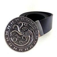 Game of Thrones Casa Targaryen Fogo logotipo dos homens da correia de couro e o sangue Do Dragão cinto de fivela de metal cintos de alta qualidade para homens