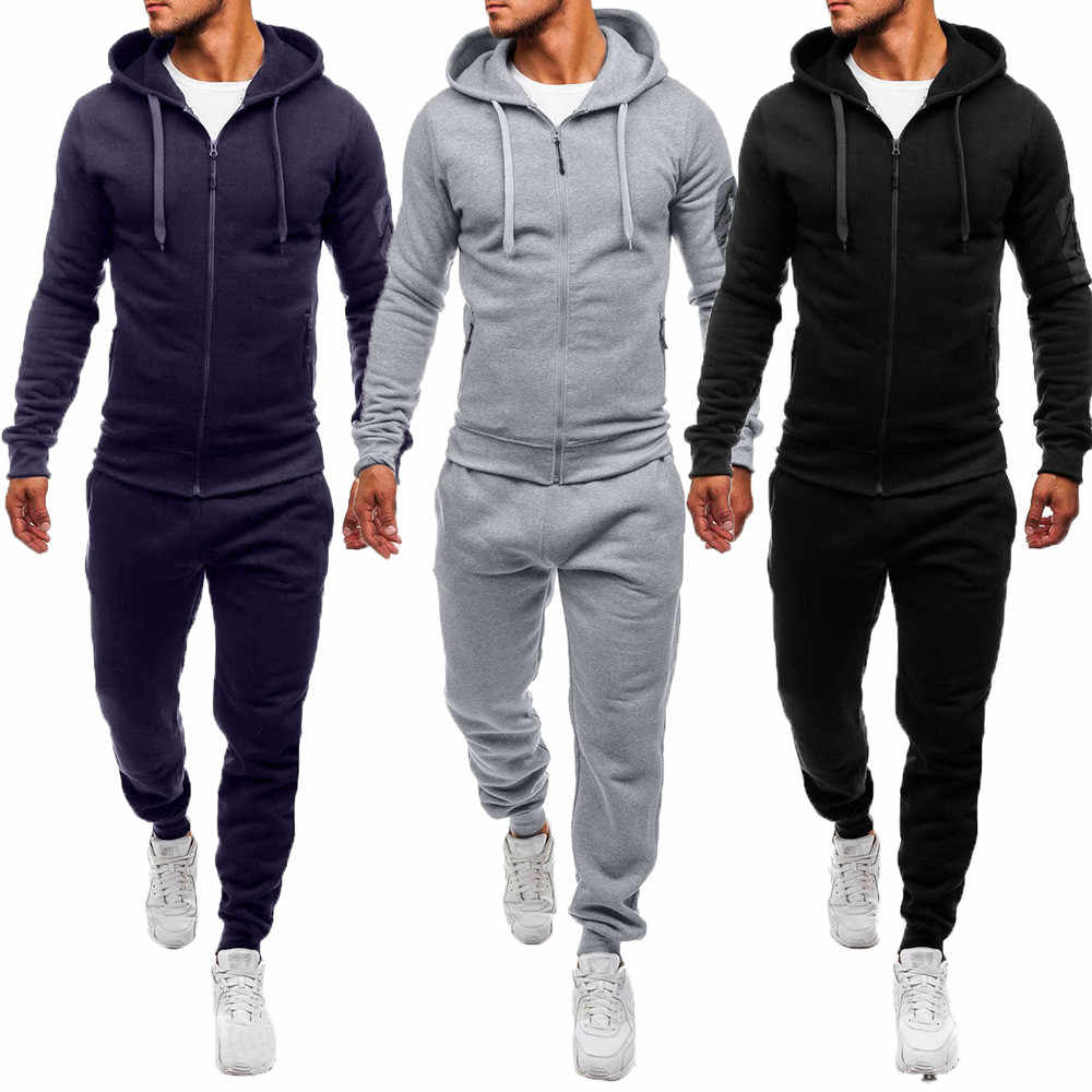 Men's Autumn Winter Casual Patchwork Sweatshirt Sets Cotton  Sets Men's Warm Outdoor sport Suit Tracksuit