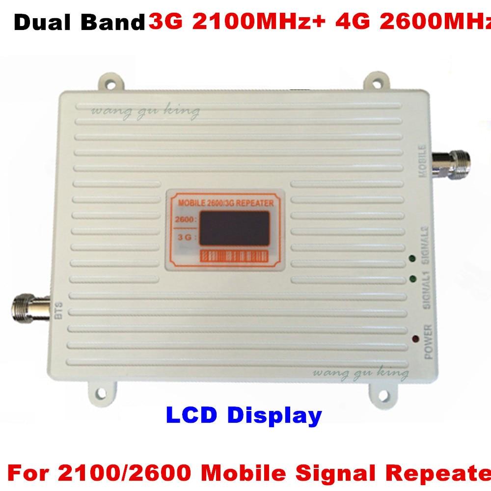 3G 4G Repetidor De Sinal 70dB Ganho 3G WCDMA 2100 4G LTE 2600 Band 7 Dual Band Telefone Celular Impulsionador 70dB de Ganho do Amplificador de Potência 23dBm