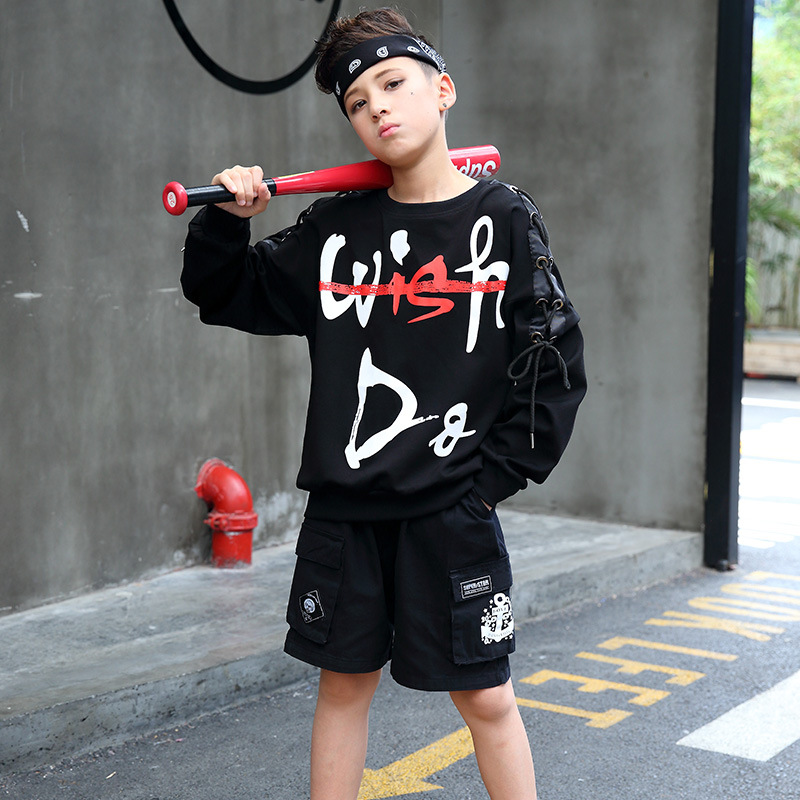 Boys Hip Hop Outfit Kids Street Dance Costume 2Pcs Set Kids Sports Suit Boys Clothes Set Dance Costume Jazz Clothing H61