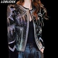 Европейский стиль осень зима для женщин блёстки куртка мигает блестками Кристаллы пальто с бантом певица роскошный сценический костюм