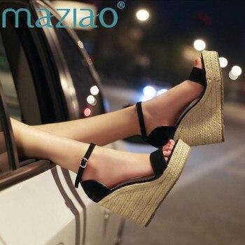 db0bf7cf MAZIAO nueva llegada verano Mujer plataforma tacones altos zapatos de  correa de tobillo Sandalias con tacón de cuña señoras elegantes vestido de  oficina ...