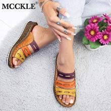 MCCKLE Vrouwen Slippers Dames Hol Gemengde Kleuren Slippers Mode Naaien Wedge Sandalen Kurk Schoenen Platform Vrouwelijke SlidesSlippers
