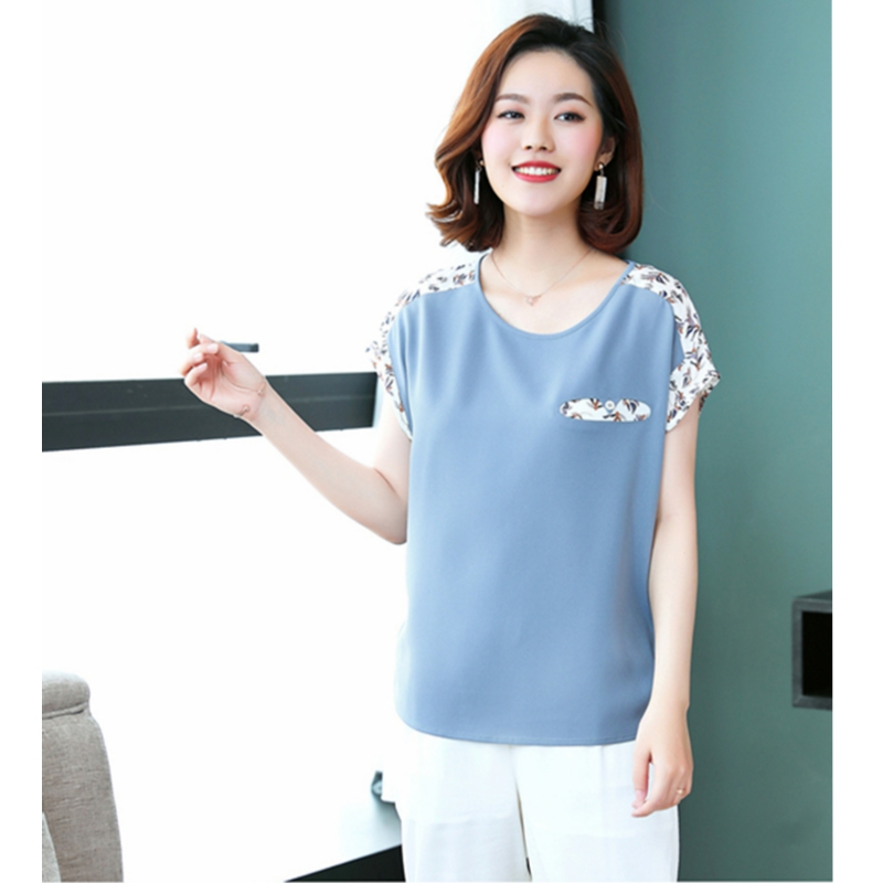 Été manches chauve-souris blouse contraste couleur épissé lâche grande taille 4XL chemises femmes 2018 nouvelle mode bleu clair femme pull