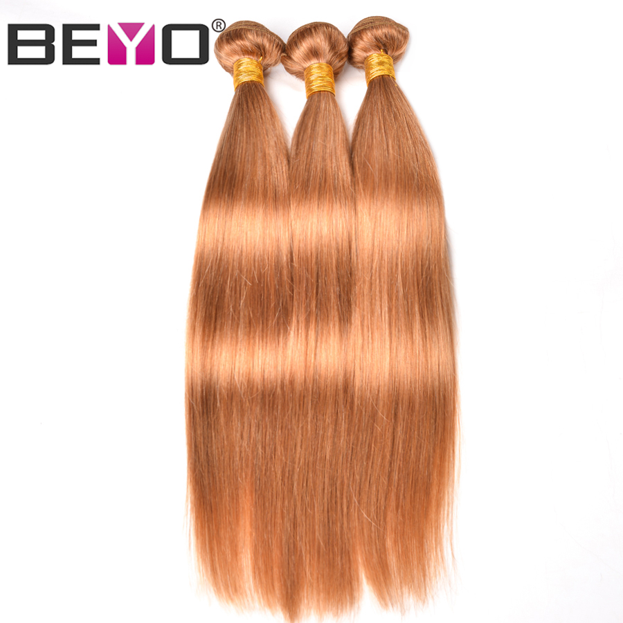 Beyo Honey Blonde 27 Brazilian Hair Weave Bundles 3 Bundles Straight Hair Human Hair Extensions Non