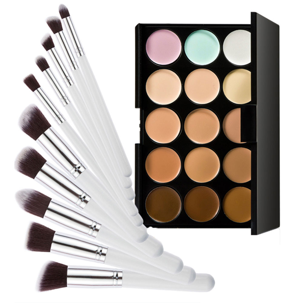 15 Colors Contour Cream Makeup Concealer Palette+10pcs Brush White Silver makeup base color corrector contour cream concealer palette