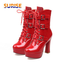 Big Plus Size T-strap Women Pumps Thin High Heels Stiletto Platform Patent Leather Spring Autumn Dress Party Wedding Lady Shoes 2017 spring and summer black high heels sandal patent leather platform shoes t strap sandals size 11 for women