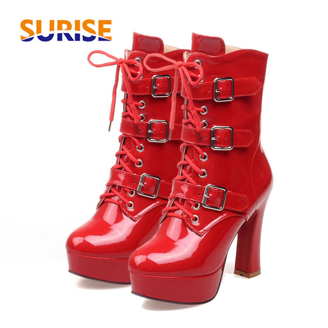 Winter Damens Half High Stiefel Platform Chunky High Half Heel Patent Leder 89ea9f