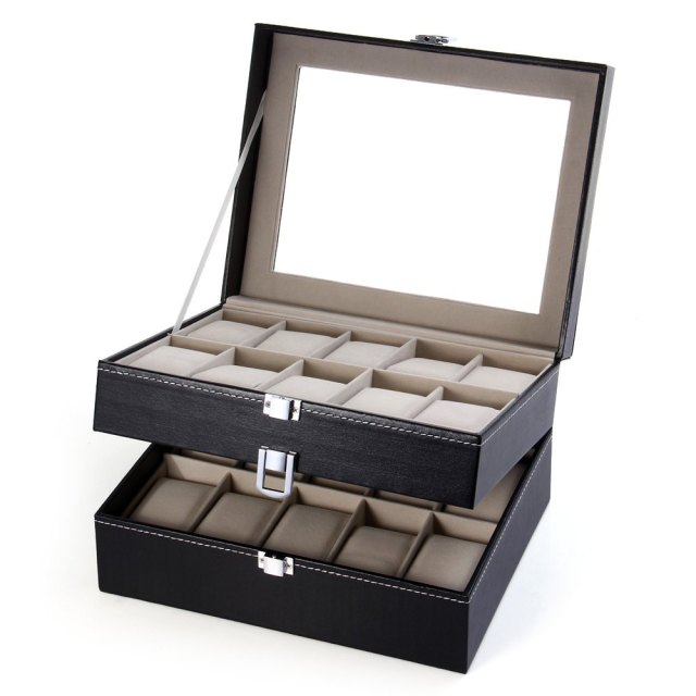 High Quality 20 Grid Slots Watch Box Jewelry organizer Watches Boxes
