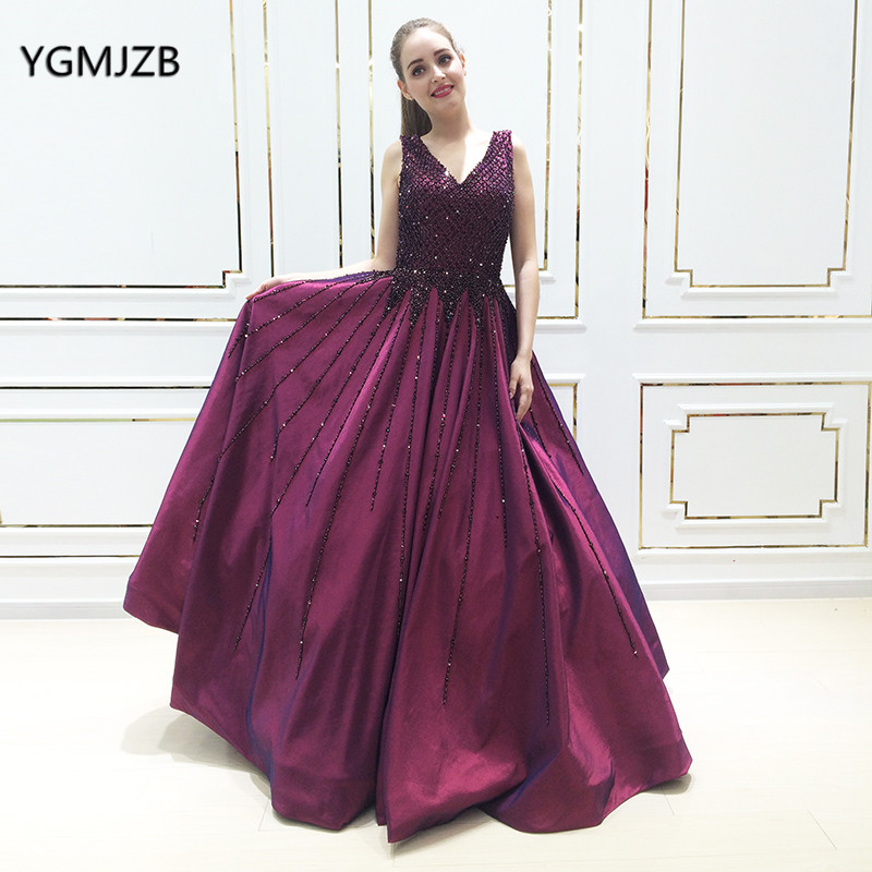 Luxury   Prom     Dress   Puffy 2018 New V Neck Crystal Beading Purple Women Arabic Long Evening Gown Formal Party   Dress   Abendkleider