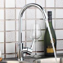 Кухня поворотным изливом кран Твердый латунный хромированный смесителя 97197 горячей и холодной водопроводной воды