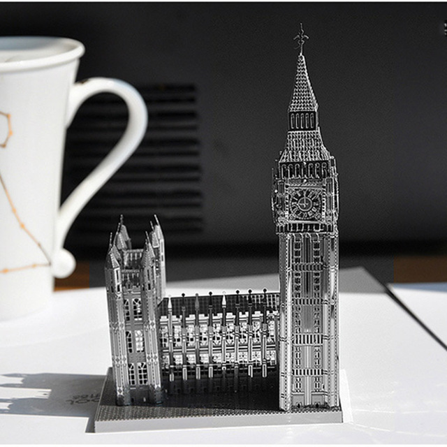 3D DIY Big Ben Metal Puzzle Model Building Stainless Steel Creative Educational Toys For Child Fascination Manual Gift TK0099