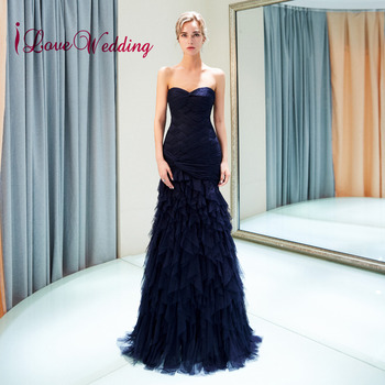 iLoveWedding New Fashion Sweetheart Navy Blue Tulle Pleated Custom made Mermaid Formal Long Evening Gowns