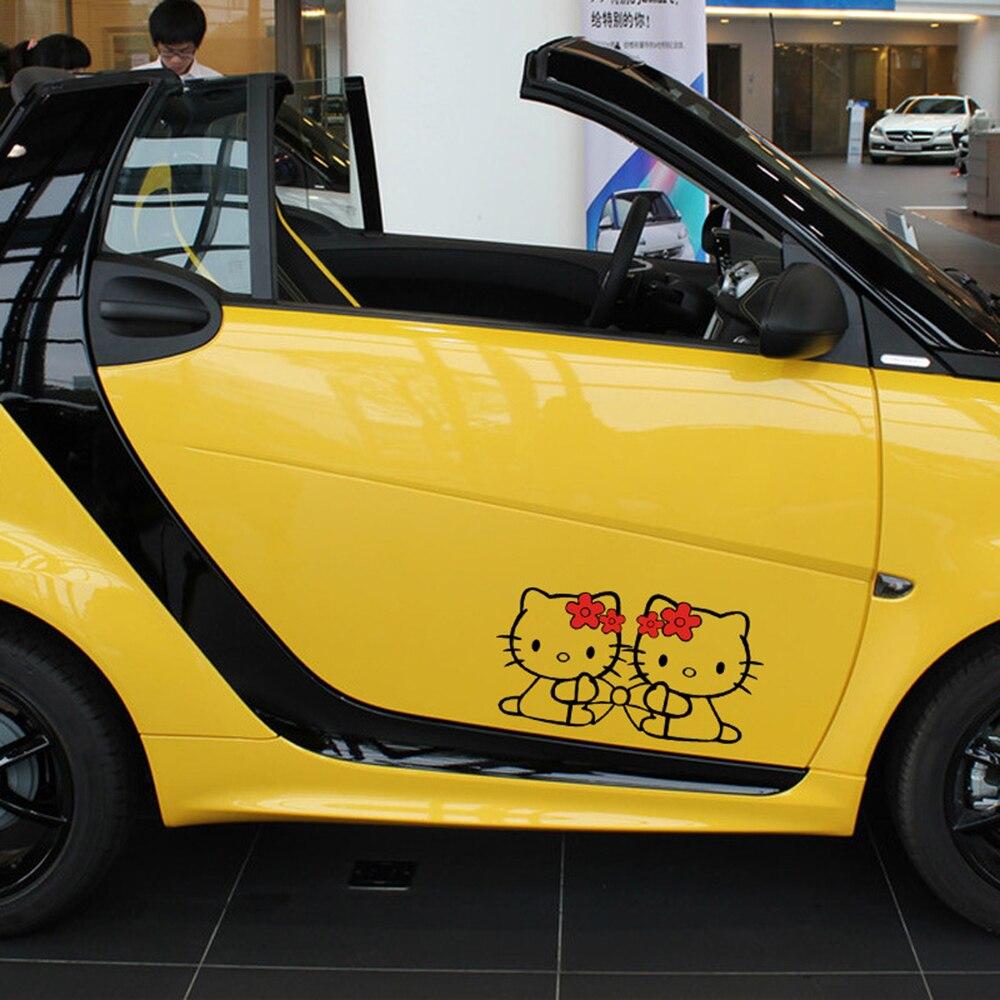 Автомобиль-Стайлинг смешно Hello KITY полые лук автомобиль Стикеры и наклейка для Ford Focus VW Skoda Мужские поло Гольф Peugeot renault BMW Audi Kia