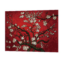 WONZOM Apricot Blossom Oil Painting By Numbers DIY Abstract Digital Picture Coloring On Canvas Unique Gift For Home