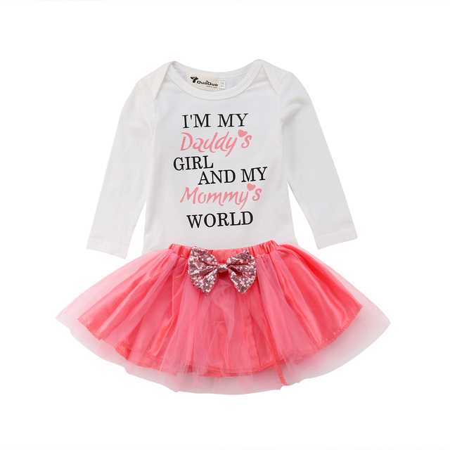 e7ffabdf7ba Emmababy Cute Newborn Baby Girl Kids Outfits 2PCS Letter Long Sleeve Romper+Tutu  Skirt Fashion