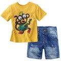 2017 Crianças Novas Roupas de Verão Crianças Roupas de Bebê Menino Roupas de Verão Conjunto de Roupas Meninos Da Criança Calça Jeans Roupas Para Crianças Boutique