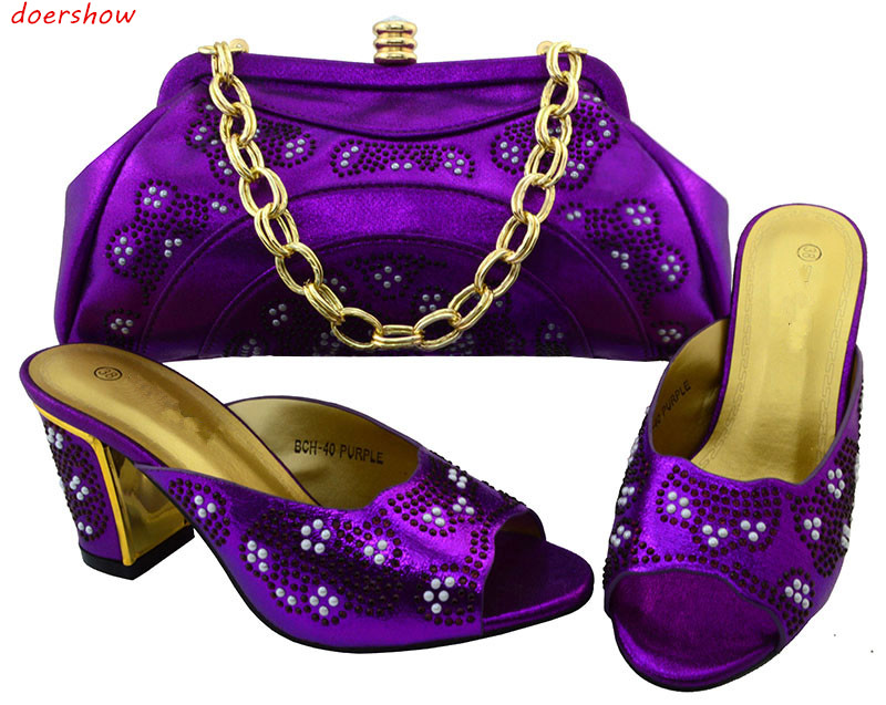 doershow Shoes and Bag Set African Sets Italian Shoes with Matching Bags High Quality Women Shoes and Bag for Party BCH1-65 african lady shoes and bag matching set for high quality for sky blue size 38 42 beautiful plum italian shoes and bag wow36