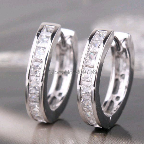 1pair Chic White Gold Filled Princess Clear Crystal Hoop Earring Women Men Fashion Huggie Earrings Jewelry Gift Drop Free In From