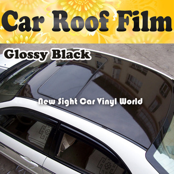 3 Layers Glossy Black Mirror Car Roof Film With Air Bubble For Vehicle Size:1.35*15m/Roll