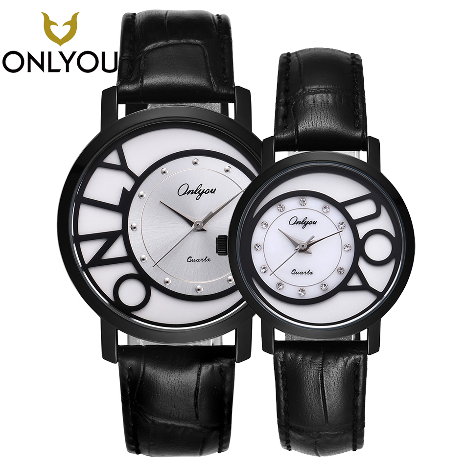 ONLYOU New Lover Watches Creative Top Band Luxury Men Black Quartz Wristwatch Women Fashion Jewelry Diamond Clock Couple Gift onlyou lover watches couple fashion unique wristwatch chinese style valentine s day present gift women caual quartz clock