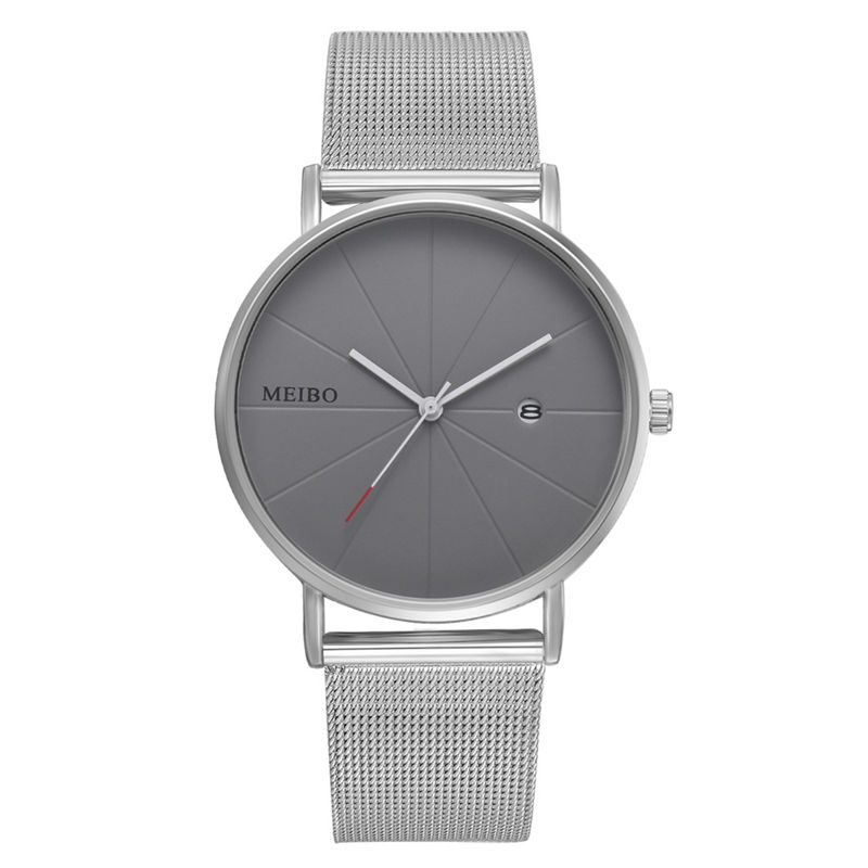 Women Watch Gray Stainless Steel Quartz Watch Women Men Watches Lovers Unisex Casual Ladies Wrist Watch Clock Relogio Feminino