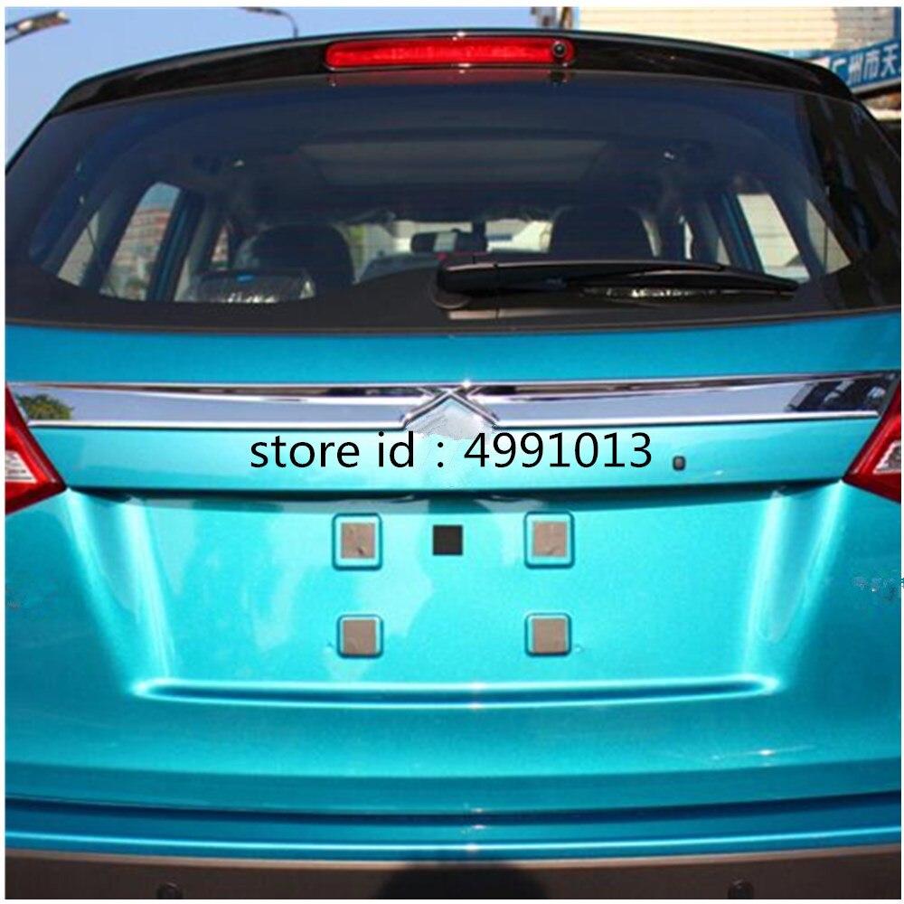 Bâche de voiture détecteur ABS porte arrière coffre hayon cadre plaque garniture lampe pièces 1 pièces pour Suzuki Vitara 2016 2017 2018 2019|Chrome décoratif| |  -