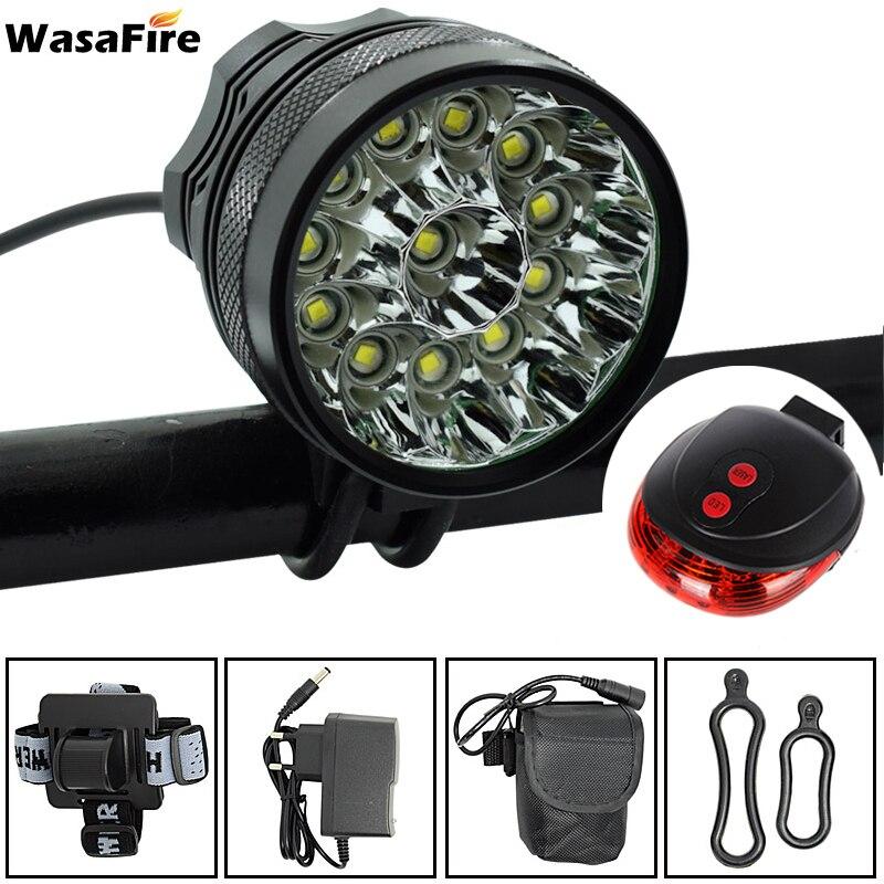 WasaFire 20000 Lumen 12 * T6 lampe LED de vélo phare avant équitation vélo avant lumière pour équitation de nuit + feu arrière laser