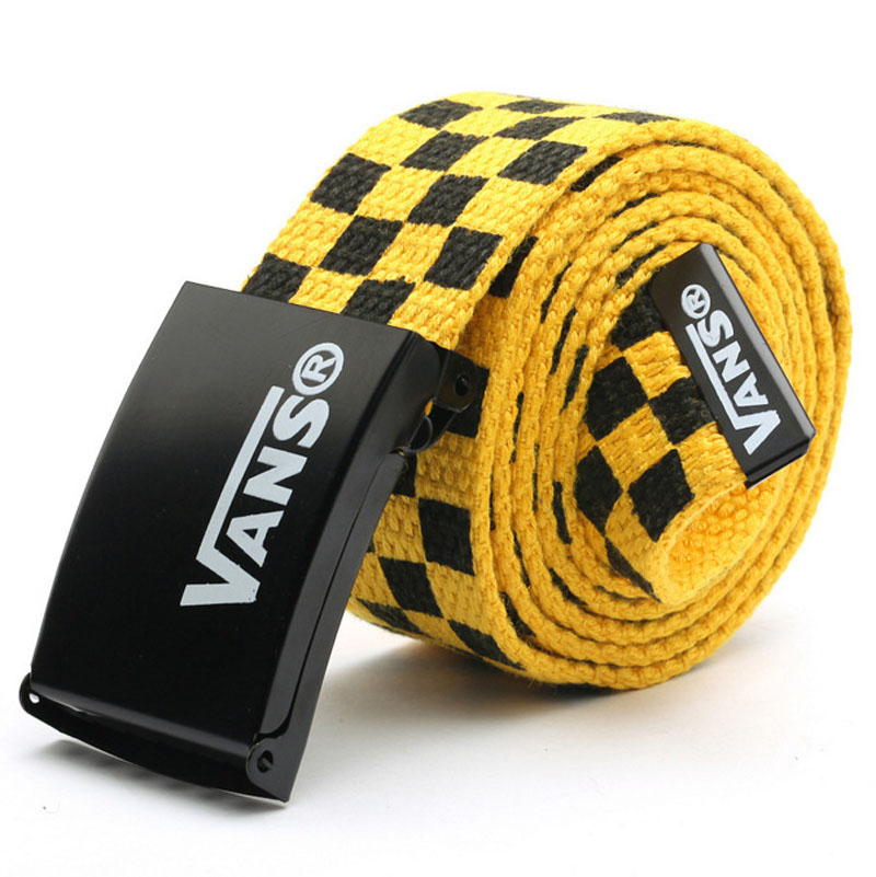 Men Women Unisex Plaid Webbing braided Canvas Metal Buckle   Belt   Male Luxury Casual Straps   Belt   For women Ceintures homme
