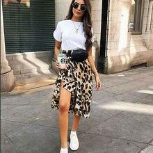 Леопардовая юбка, женская модная пикантная юбка с запахом, асимметричная юбка длиной до икры, женская летняя повседневная тонкая юбка с высокой талией, сарафан
