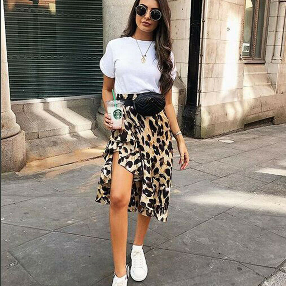 Leopard Skirt Women Fashion Sexy Wrap Over Asymmetrical Calf Length Skirt Ladies Summer Casual High Waist Slim Skirts Sundress