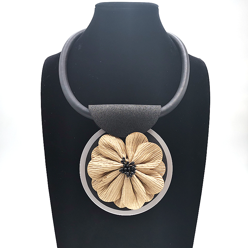YD&YDBZ 2019 New Short Collar Necklaces For Women Rubber Leather Necklace Yellow Flower Big Pendant Jewelry Punk Style