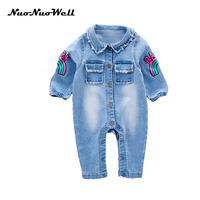 NNW 3M 24M Baby 2017 Spring Autumn Fashion Rainbow Printed Cowboy Clothes Small Children Climb Rompers