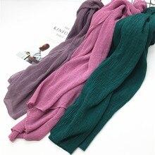 Модный вискозный смятый хиджаб, малайзийский мусульманский женский длинный платок, шарф с морщинами, мусульманский головной убор, 1 шт., 90*180 см