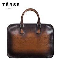TERSE_OEM ODM портфель ручной работы мужская формальная сумки верхняя кожа Винтаж 4 вида цветов моды Тота сумка для человека логотип