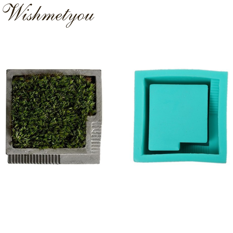 WISHMETYOU Creative Concrete Pot Mold Cement Silicone Moulds For Diy Clay Plaster Office Plant Decor Home Square Geometric Molds