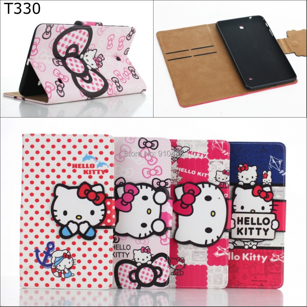 Fashion Cute Kitty pu leather Wallet card stand holder cover case for Samsung Galaxy Tab 4 8.0 T330 t331 t335 + screen film
