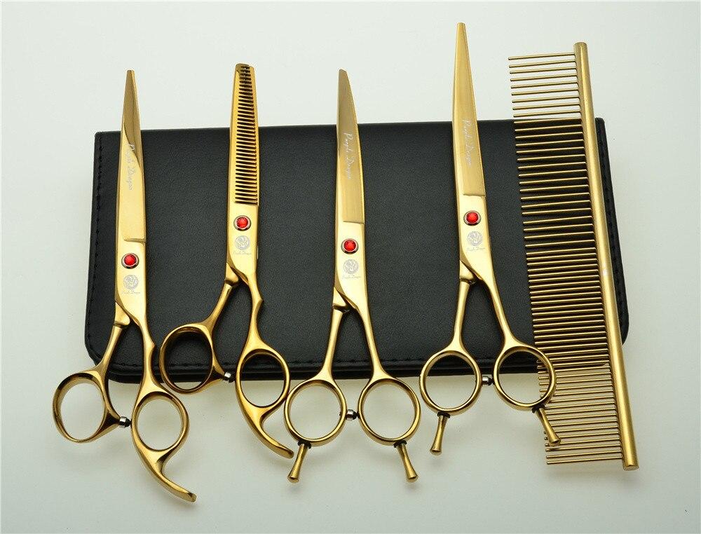 5 pcs Ensemble 7 ''19.5 cm D'or Cheveux Professionnel De Coiffure Ciseaux Peigne + De Coupe Cisailles + À Effiler + UP /bas Ciseaux Courbes Z3002J