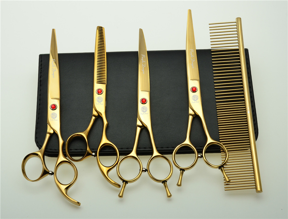 5Pcs Set 7'' 19.5cm Golden Professional Hair Hairdressing Scissors Comb+ Cutting Shears + Thinning +UP/Down Curved Shears Z3002J 5 inch hair comb for pets cats