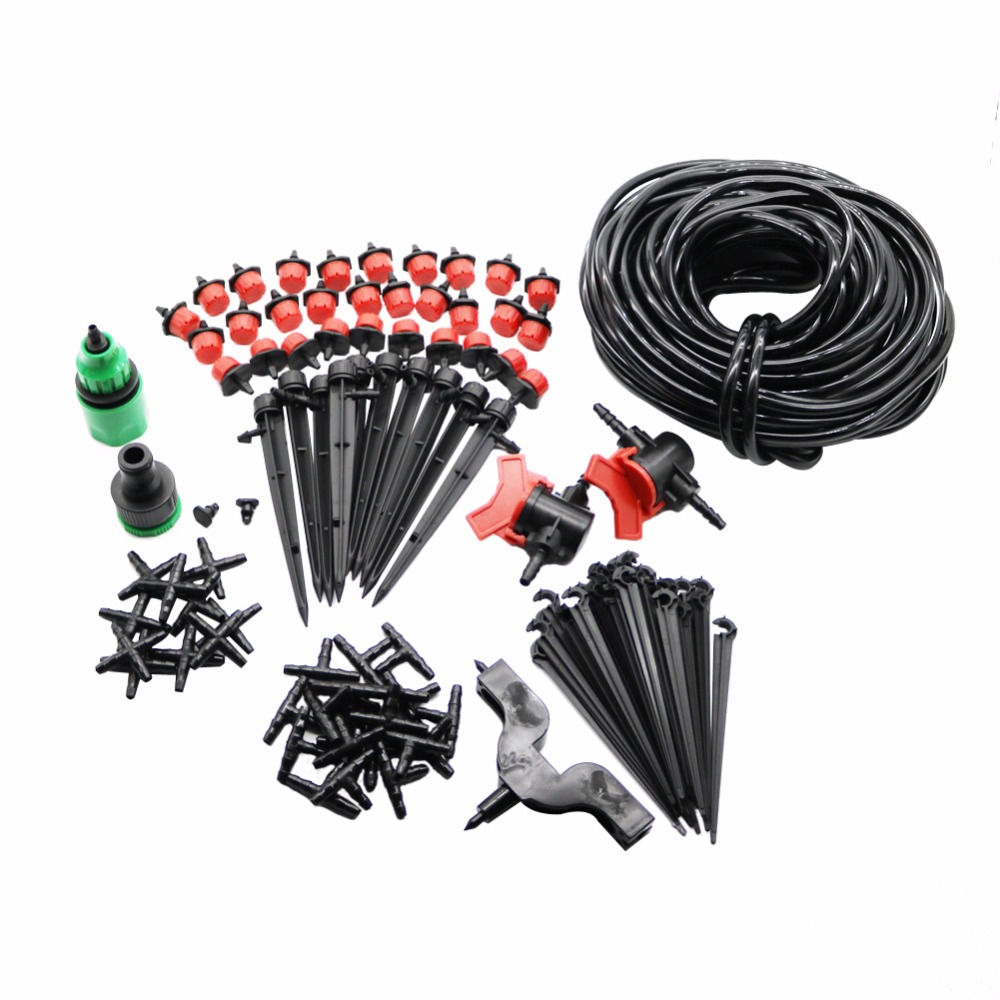 Garden Irrigation Set 108 st 20m 4 / 7mm Slang DIY Trädgård Sprinkler Huvud Slang Fäste Fast Interface Hole Puncher Plug Tee