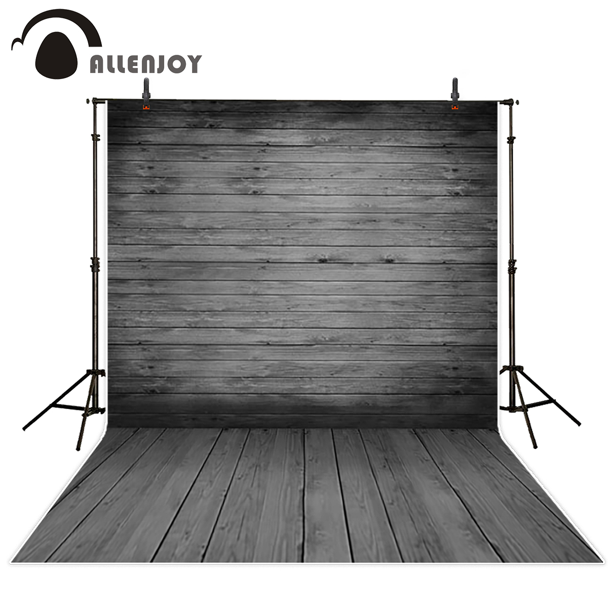 Allenjoy gray wood wall floor photography background plank board newborn baby shower custom backdrop photo studio photocall